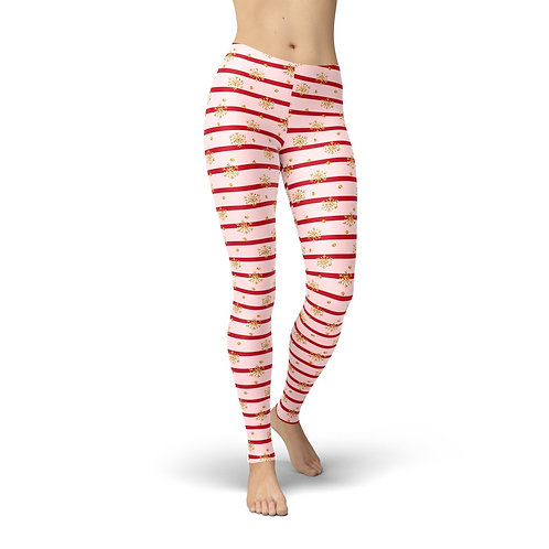 Jean Pink Holiday Stripes Leggings