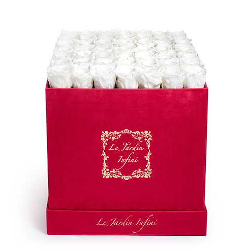 White Preserved Roses -  Large Square Red Luxury Suede Box