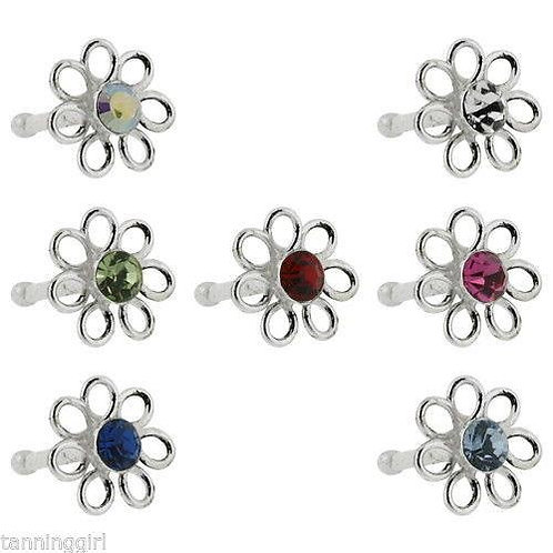 20 Gauge Nose Bone Sterling Silver Flower - Prong Set