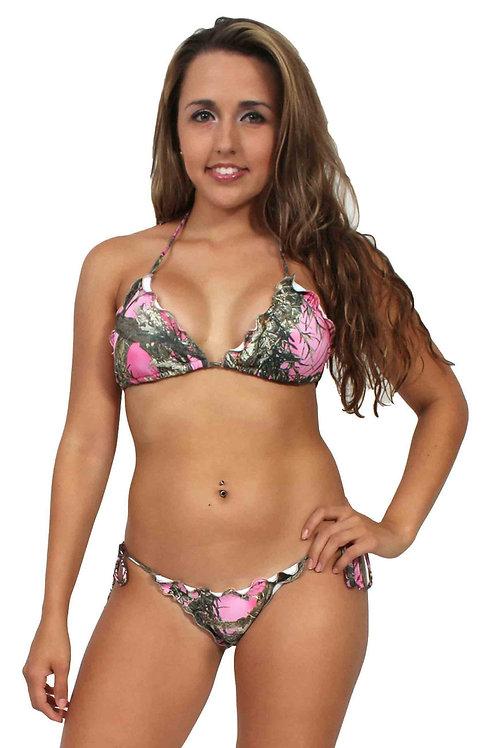 Women's Camo Bikini True Timber Ruffled Swimsuit: PINK Made in the USA
