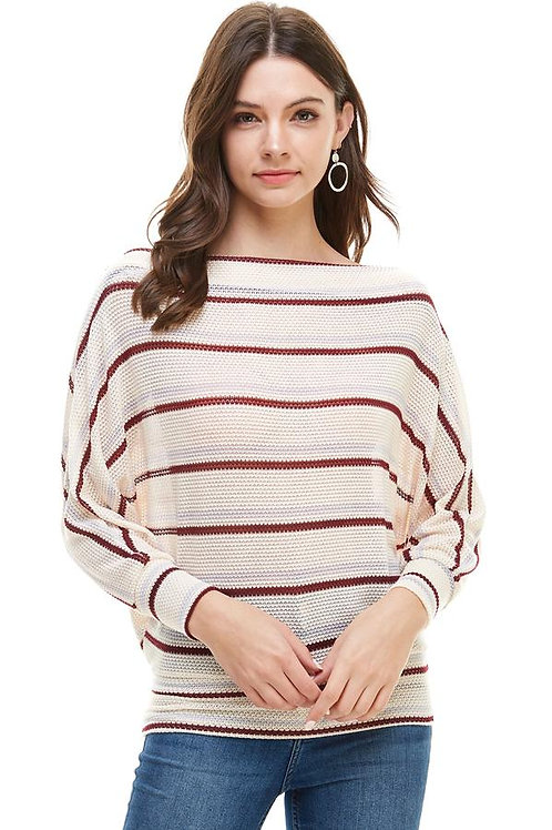Stripe Knit Boat Neck Dolman Sleeve Loose Top