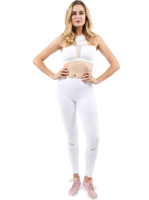Athletique Low-Waisted Ribbed Leggings With Hidden Pocket and Mesh Panels white