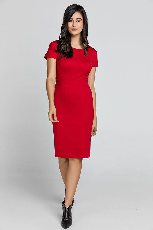 Fitted Red Cap Sleeve Dress Conquista Fashion