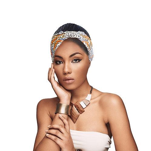 Beaded Black and White Headband