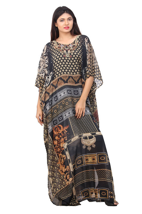 Lady in Black Abstract Print Silk Kaftan Patterned Maxi Long Style for Casual