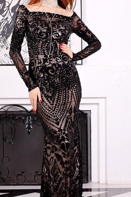 Black Sequin Evening Gown
