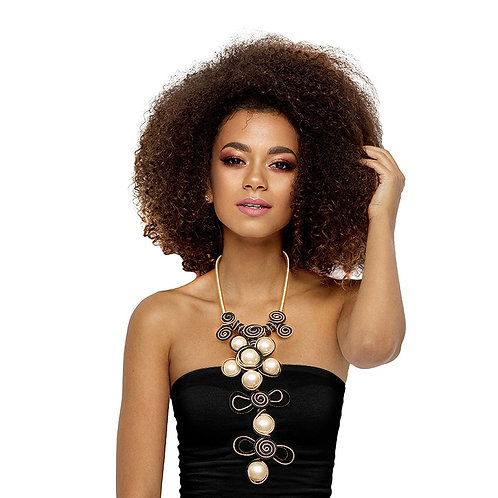 Black Cord and Pearl Necklace Set
