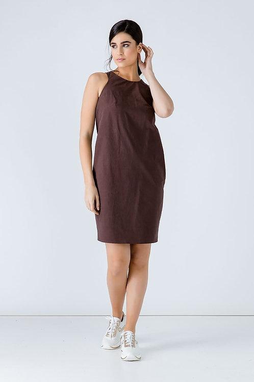 Brown Cotton Sack Dress