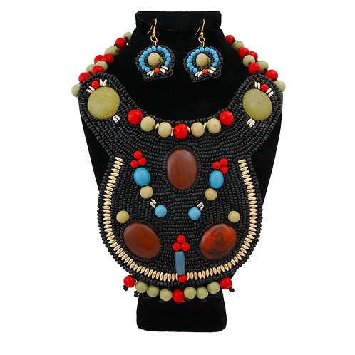 Black Bead Bib Necklace Set with Green and Red Bead Collar and Detail
