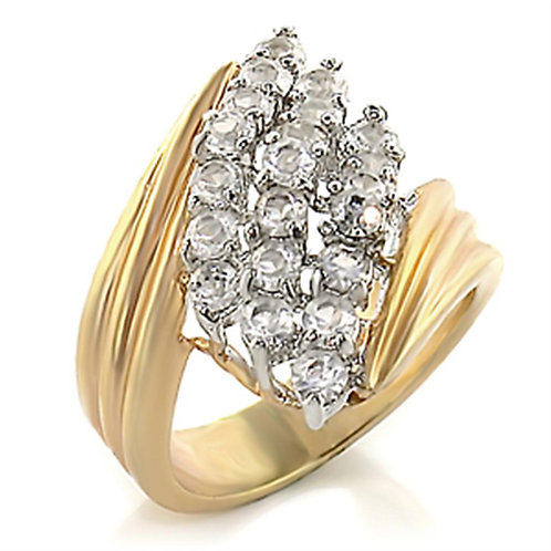 2W029 Gold+Rhodium Brass Ring with AAA Grade CZ in