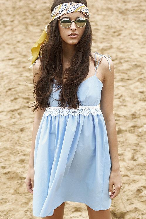 Blue Cotton Mini Dress With Lace