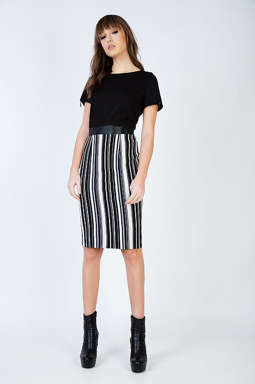 Stripe Detail Straight Dress With Zip and Pleather Detail