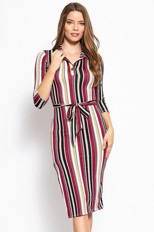 Stripes Print, Midi Tee Dress