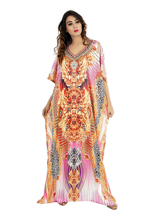 Silk Looks and Feel Kaftan One Piece Dress on Sale/Jeweled/Handmade/Caftan