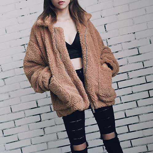Elegant Faux Fur Coat Women 2018 Autumn Winter