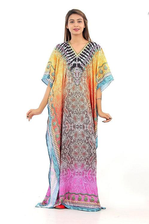 Silk Looks and Feel Kaftan One Piece Dress on Sale Beach Cover Up Hot Look