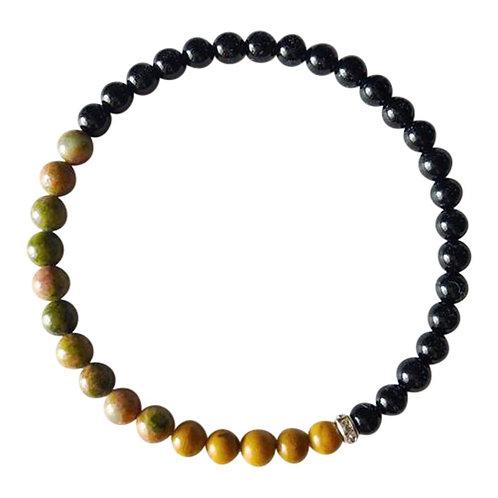 Black Onyx, Yellow Jasper and Unakite Sterling Silver Bracelet