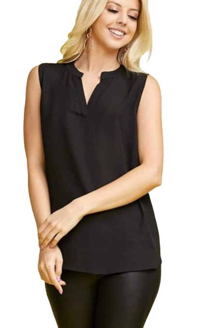 Carla high/low tank blouse in black