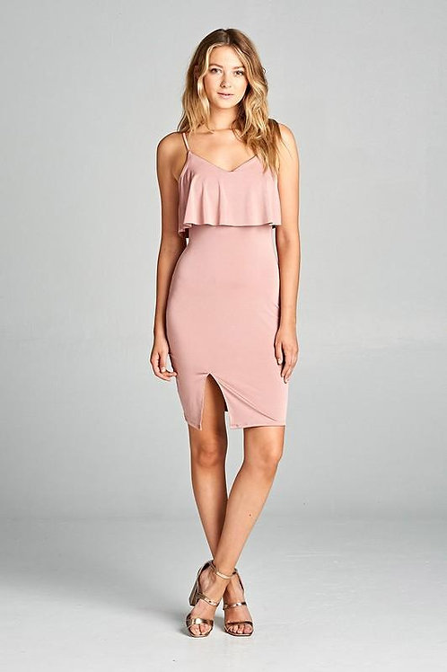 Women's Sleeveless Ruffle Front Slit Bodycon Dress