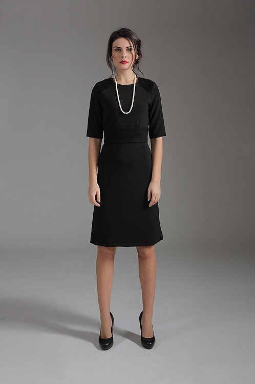 A Line Elbow Sleeve Dress With Burn Out Detail