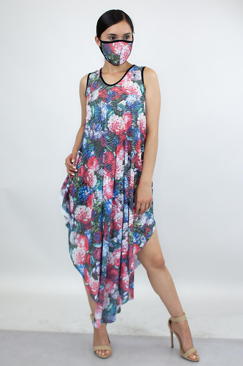 Floral Print Asymmetric Dress and Matching Face Mask