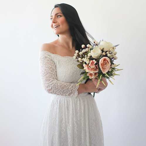 Curve & Plus Size Off-The-Shoulder Ivory  Floral Lace Long Sleeve Maxi Dress Wit