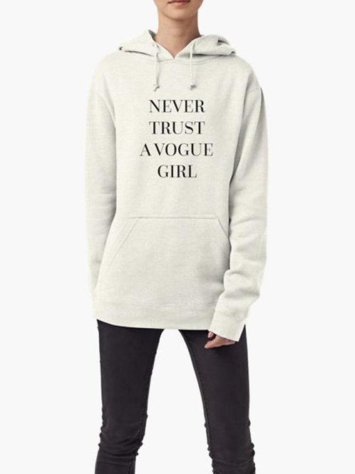 Never Trust a Vogue Girl WOMEN HOODIE GRAY