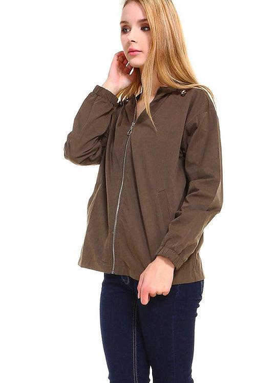 Hooded Zip Front Windbreaker