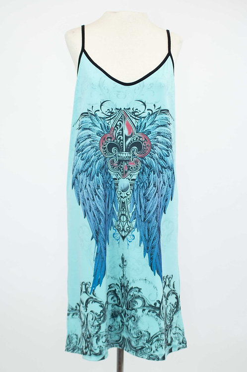 Feather Print Sleeveless Dress - Blue