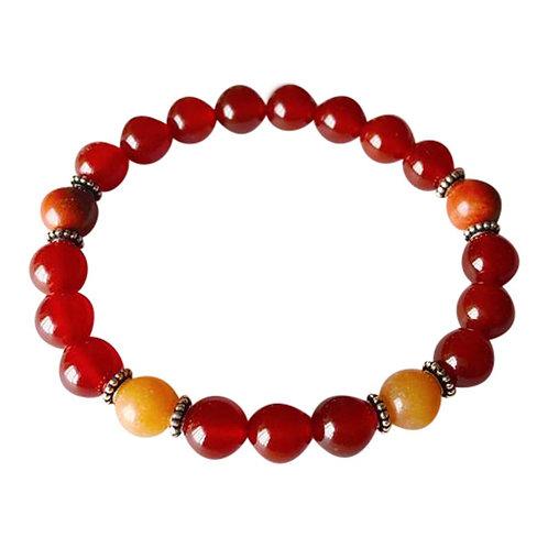 Carnelian, Red Aventurine & Red Jasper Sterling Silver Bracelet