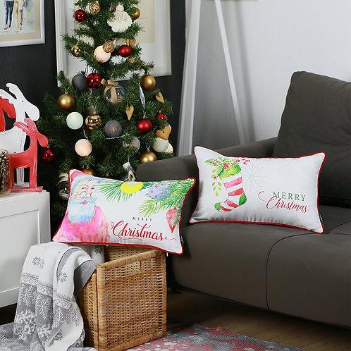 Merry Christmas Lumbar Throw Pillow Cover (Set of 2)