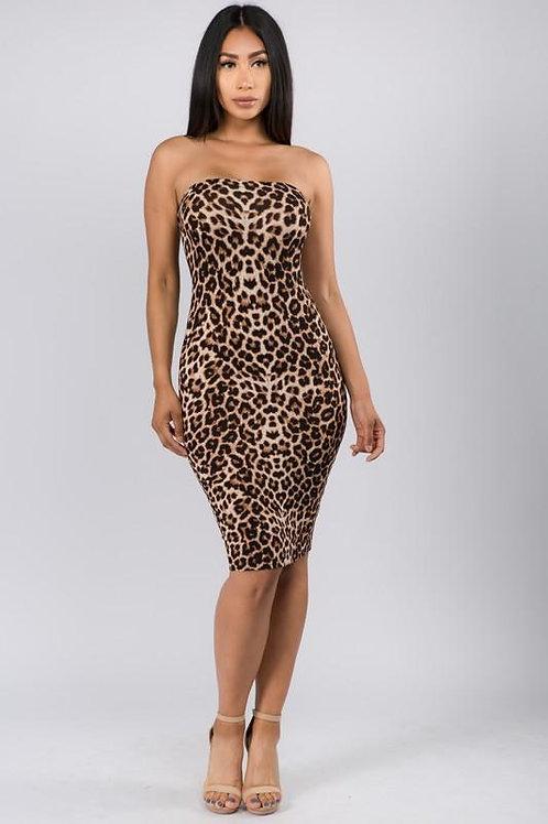 Leopard Print Tube Midi Dress  ID:JVD50043