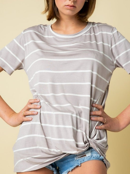 Carly striped twist hem tee in mocha/ivory