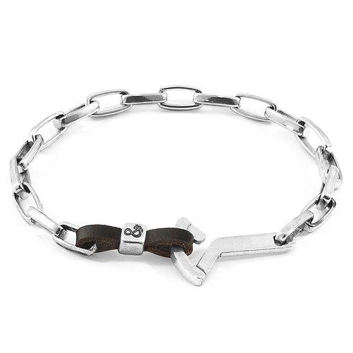 Dark Brown Frigate Silver & Leather Bracelet