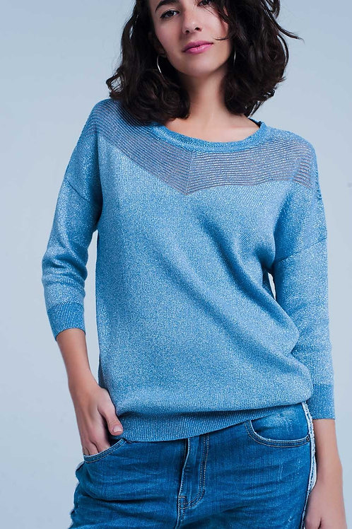 Blue Metallic Knit Sweater
