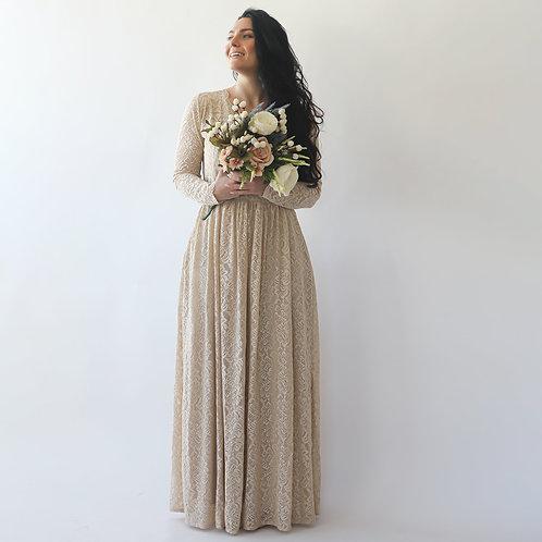 Curve & Plus Size Sleeves Lace Wedding Dress,Long Sleeves Champagne Boho Wedding