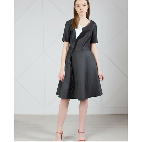 Gray Denim Knee Length Dress
