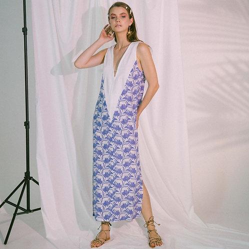 V-Neck Two Tone Beach Maxi Dress in Blue Biro