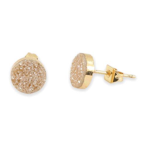 Jeanna Druzy Stud Earrings in Gold