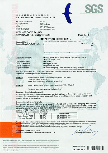Mono-Ammonium Phosphate MAP Tech Grade 12-61-0 SGS report