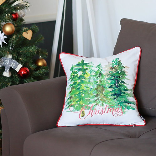 """Christmas Trees Square 18"""" Throw Pillow Cover"""