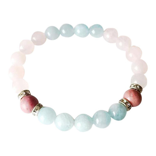 Aquamarine, Rose Quartz & Rhodonite Sterling Silver Bracelet
