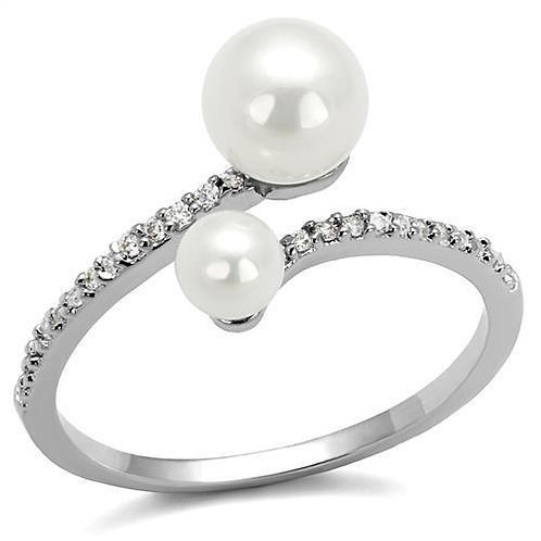3W1236 Rhodium Brass Ring with Synthetic in White