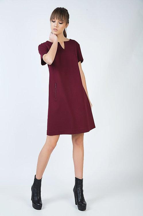 Burgundy Sack Dress in Stretch Punto Di Roma Fabric