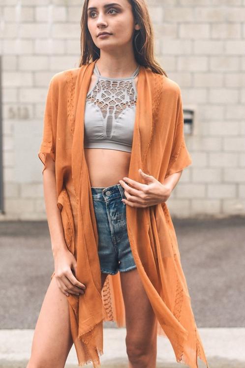Arie - Camel Boho Kimono w/ Sequins