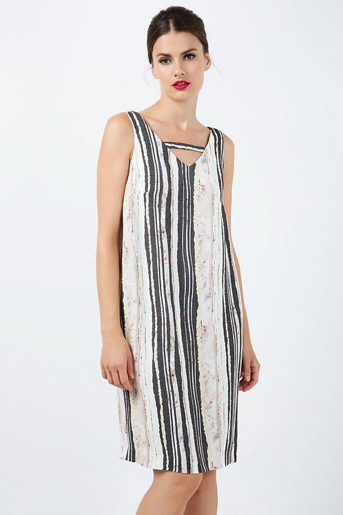 Sleeveless Striped v Neck Dress