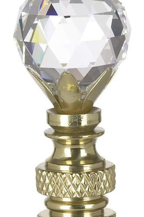 "2""H Stephanov Multi-Faceted Lamp Finial Crystal Ball Polished Brass"