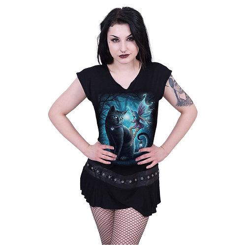 CAT AND FAIRY - Stud Waist Mini Dress Black