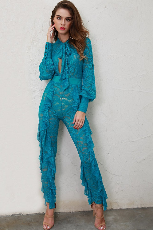 Aqua Blue Ruffle Jumpsuit