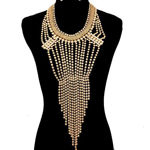 Gold Bead and Rhinestone Gathered Fringe Necklace Set
